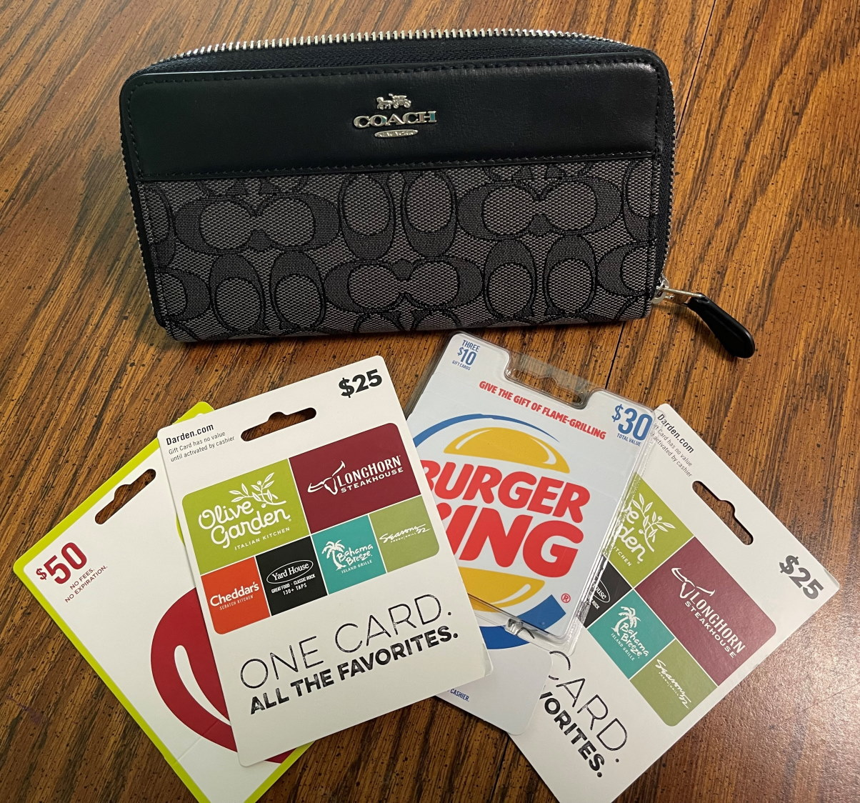 Tip Board Raffle – Coach Wallet PLUS $130 In Restaurant Gift Cards